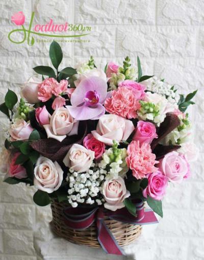 Giỏ hoa- Hạnh phúc đong đầy