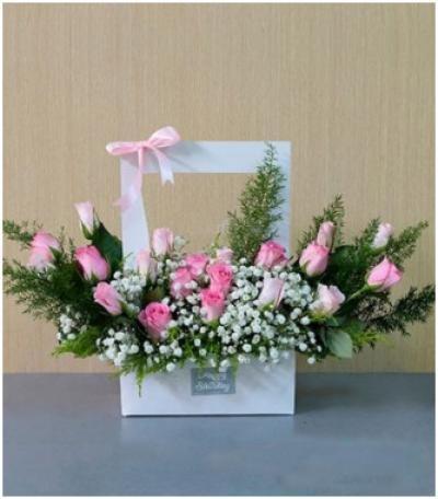 Giỏ hoa tặng 8/3 phong cách Hàn Quốc