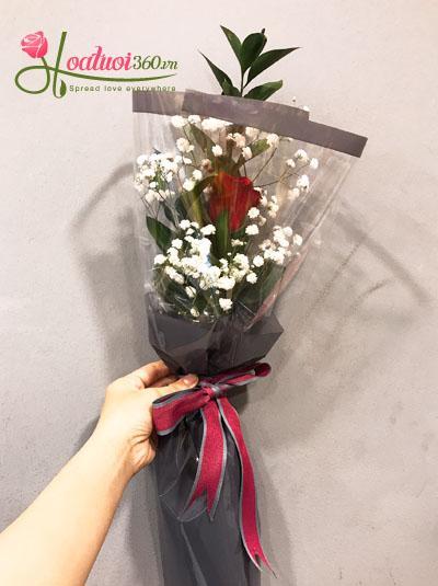 Hoa bó 1 bông- Màu đỏ yêu thương