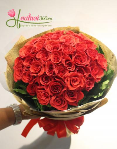 Hoa bó đẹp- Bó hoa hồng đỏ đắm say