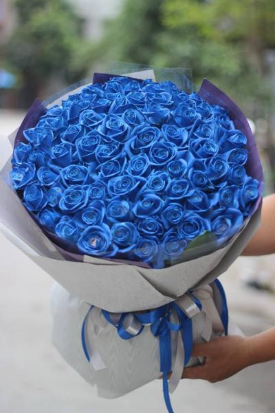 Bó hoa hồng màu xanh 50 bông tình yêu dịu êm và bình dịu