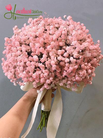 Hoa cầm tay cô dâu- Bó cưới baby hồng