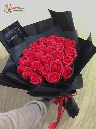 Hoa hồng sáp - Bó hồng đỏ tình ấm nồng