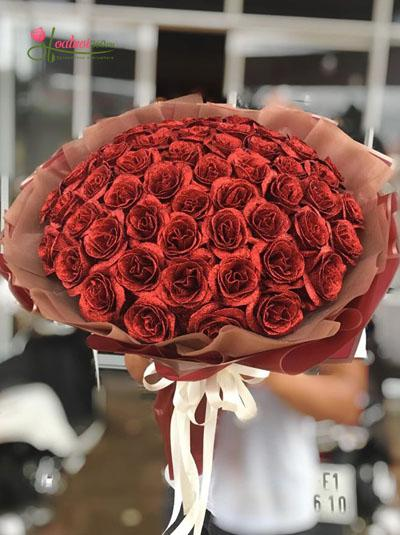 Hoa hồng sáp - Bó hồng đỏ nhũ kim tuyến tuyệt đẹp