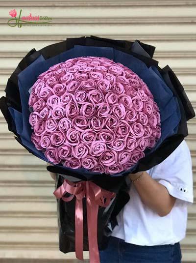 Hoa hồng sáp - Bó hồng tím mộng mơ