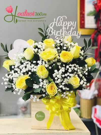 Hoa hồng vàng kết hợp hoa baby - Gắn kết yêu thương