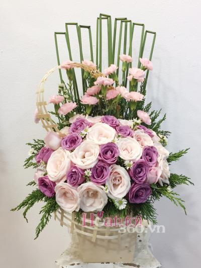 Hoa hộp gỗ- Mừng sinh nhật