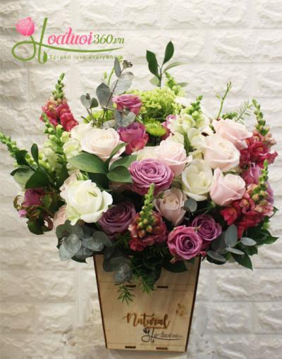Hoa sinh nhật - Lẵng hoa đẹp- Niềm vui bất ngờ