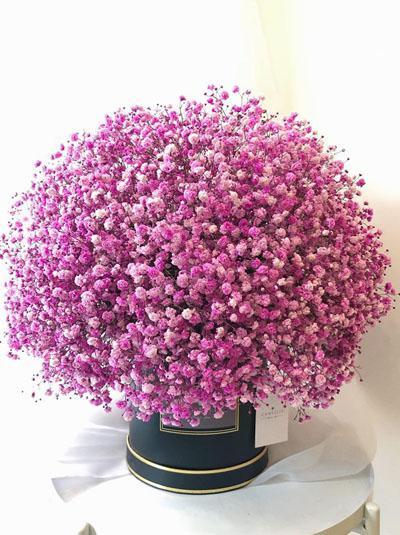 Hộp hoa baby hồng dễ thương