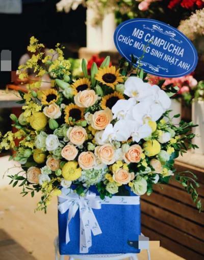 Hộp hoa chúc mừng - sức sống tươi trẻ