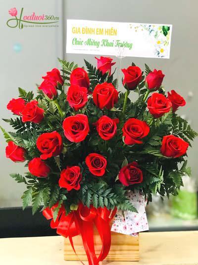 Hộp hoa hồng đỏ thắm