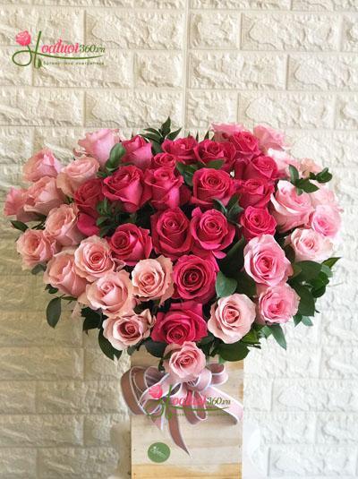 Hộp hoa hồng Ecuador  - Trái tim yêu thương