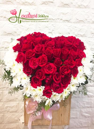 Hộp hoa trái tim- Trái thơm tình yêu