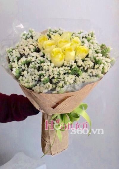 Bó hoa hồng vàng 7 bông thể hiện con cảm ơn mẹ đã cho con trên cuộc đời này