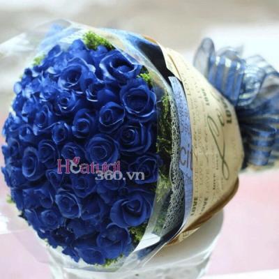Bó hoa hồng màu xanh 40 bông bày tỏ lời cảm ơn