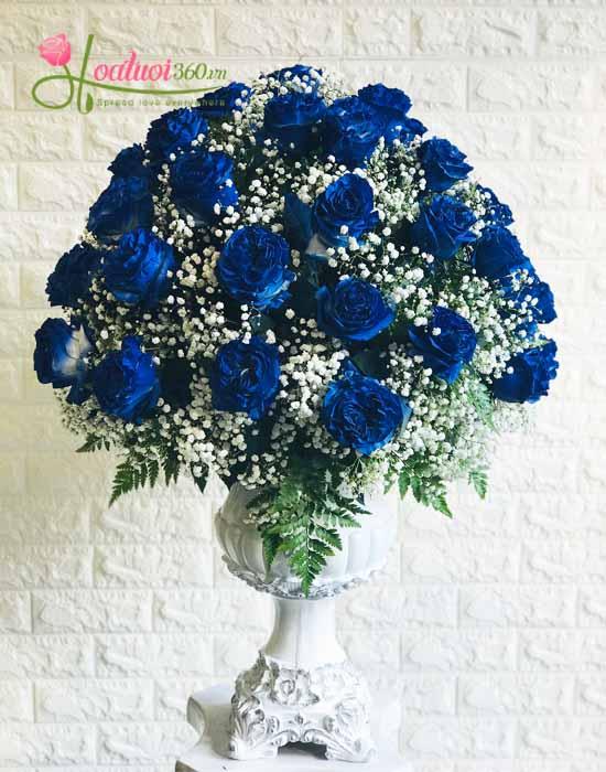 Hoa Vip - Bình hoa hồng xanh Ecuador