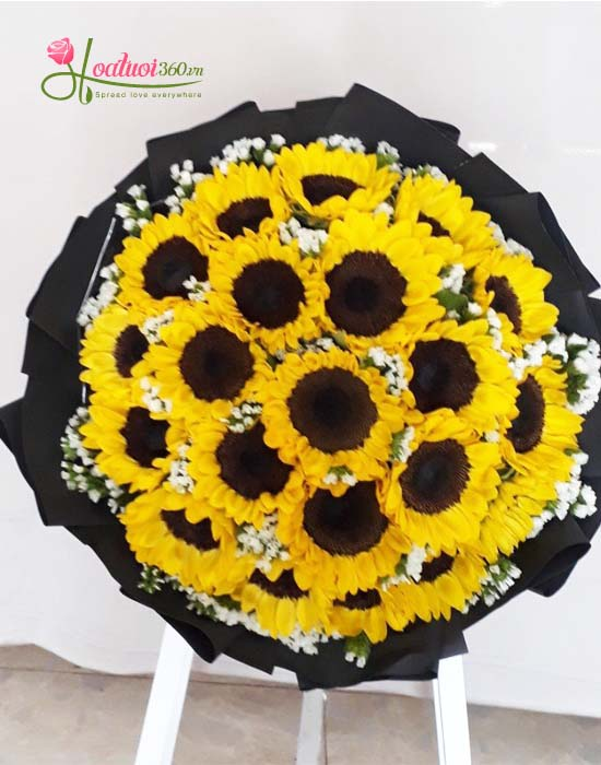 Bó hoa hướng dương tròn thể hiện tình yêu sâu đậm