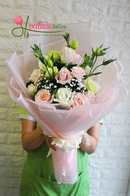 bó hoa sinh nhật lời yêu thương
