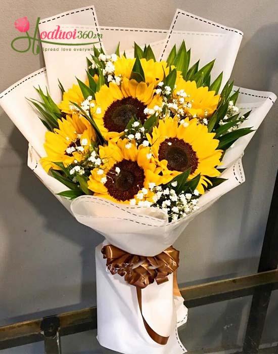 Bó hoa hướng dương mừng lế tốt nghiệp kết hợp Baby Hà Lan