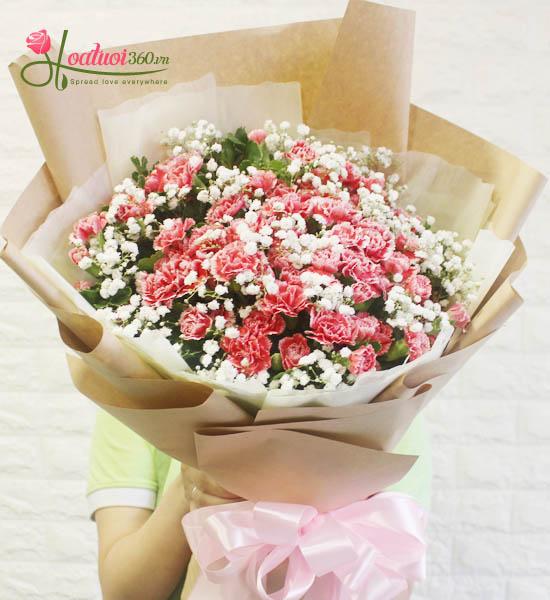Bó hoa cẩm chướng mừng sức khỏe cực đẹp