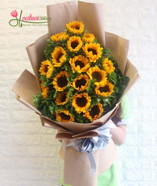 Bó hoa hướng dương bó dài thể hiện tình cảm chân thành và sâu sắc