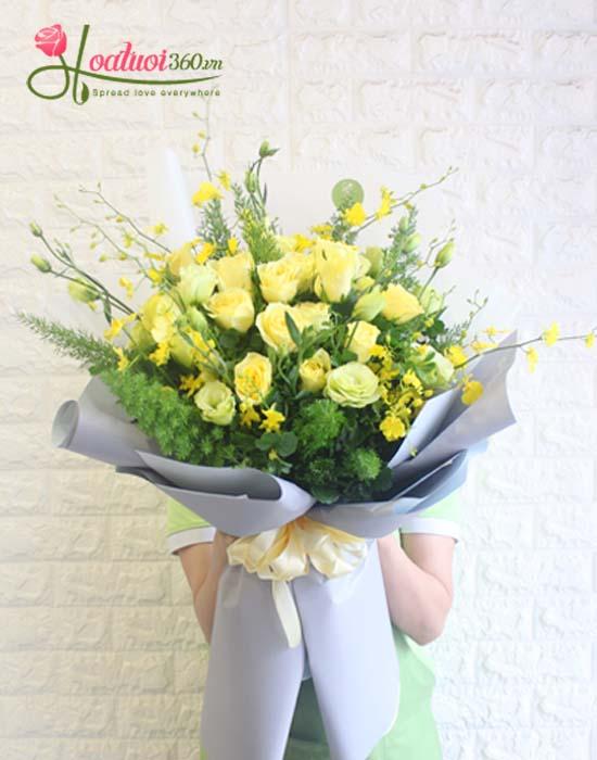 Bó hoa hồng vàng mừng tốt nghiệp - Rực rỡ