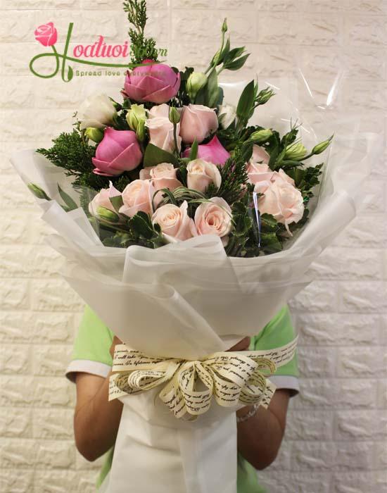 Bó hoa sen chúc mừng trang nhã