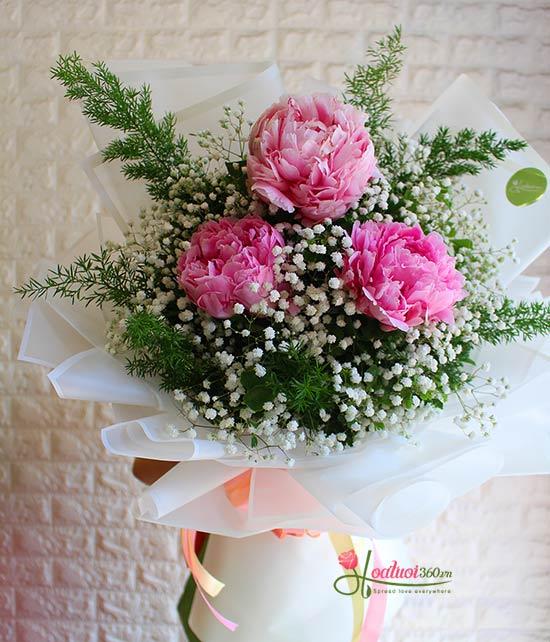 Bó hoa mãu đơn chúc mừng đẹp nhất