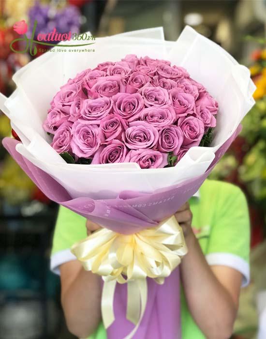 Bó hồng tím 99 bông được yêu thích nhất ngày Valentine
