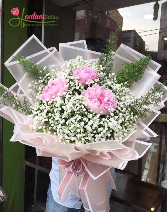 Bó hoa mẫu đơn dành tặng mẹ