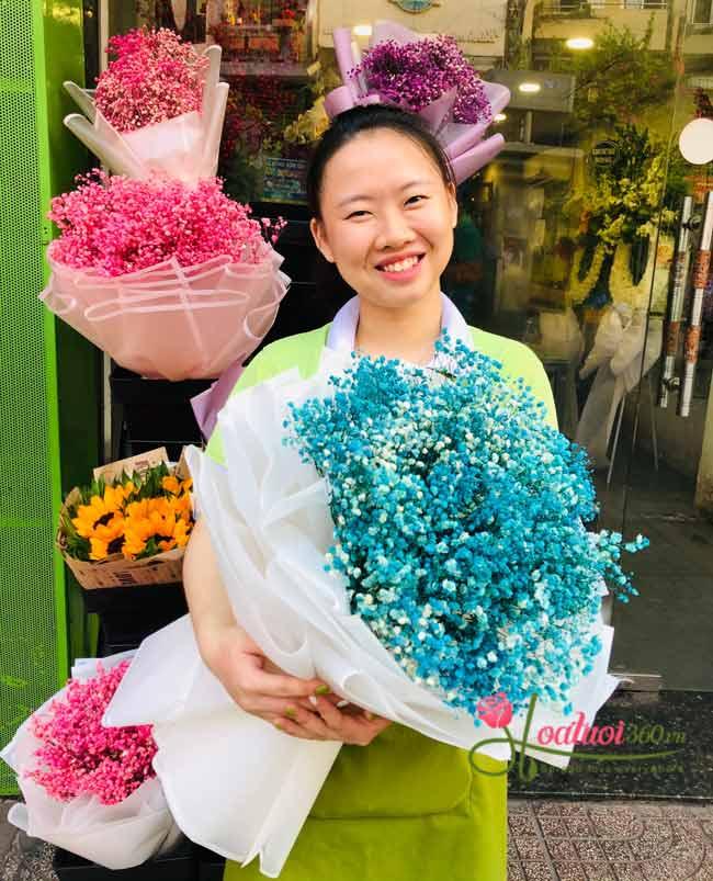 Bó hoa baby xanh dương nhập khẩu tượng trưng vẻ đẹp quý phái