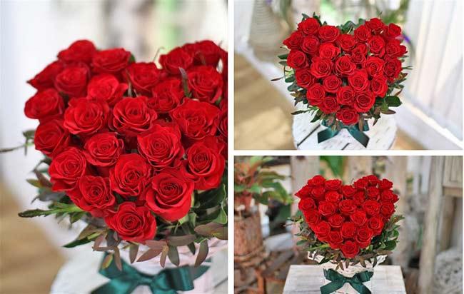Giỏ hoa hồng tim ẩn lời xin lỗi độc đáo
