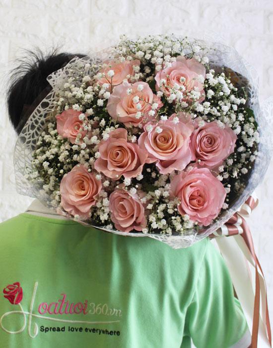 Mẫu hoa bó ecuador màu hồng phấn