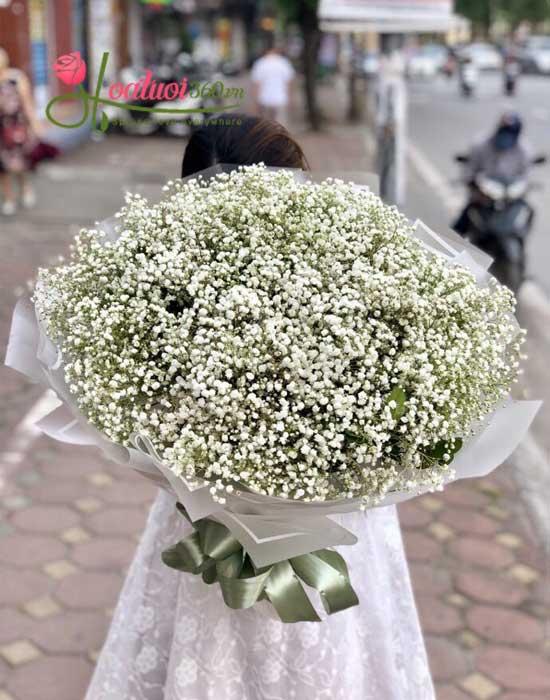 Bó hoa baby trắng mừng giáng sinh an lành