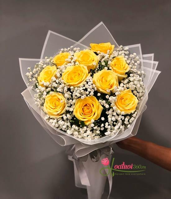 Bó hồng Ecuador màu vàng - Tình yêu mãnh liệt