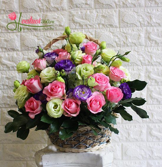 giỏ hoa đẹp vườn nắng