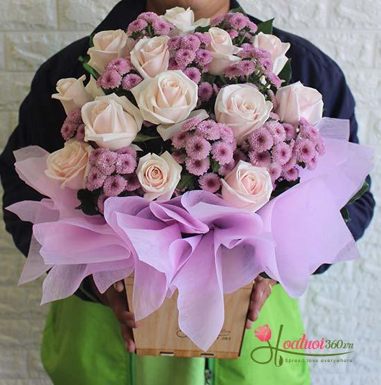 Hộp hoa tặng chúc mừng sức khỏe dễ thương, ngọt ngào