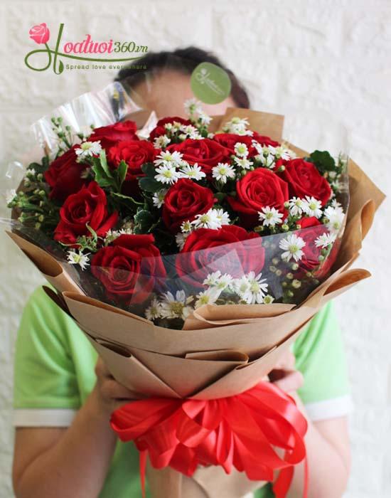 bó hoa hồng đỏ đẹp happy day