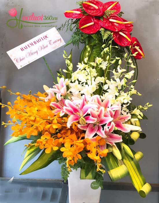 Giỏ hoa lan mang nhiều may mắn đến gia chủ