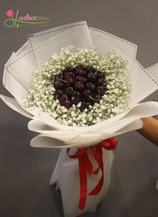 Bó hoa mừng sức khỏe làm từ trái cây Cherry