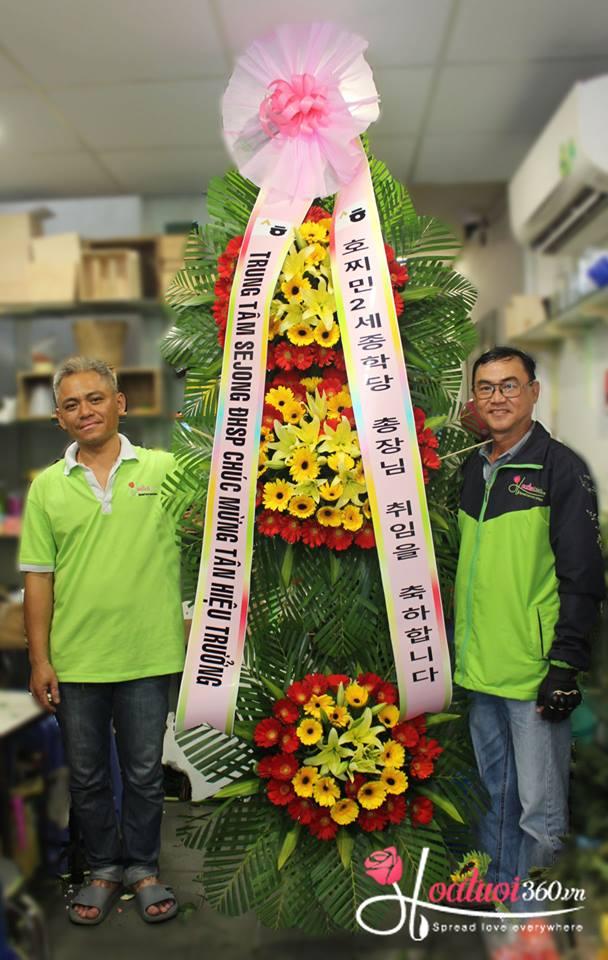 mẫu hoa kệ hoa khai trương kiểu Hàn