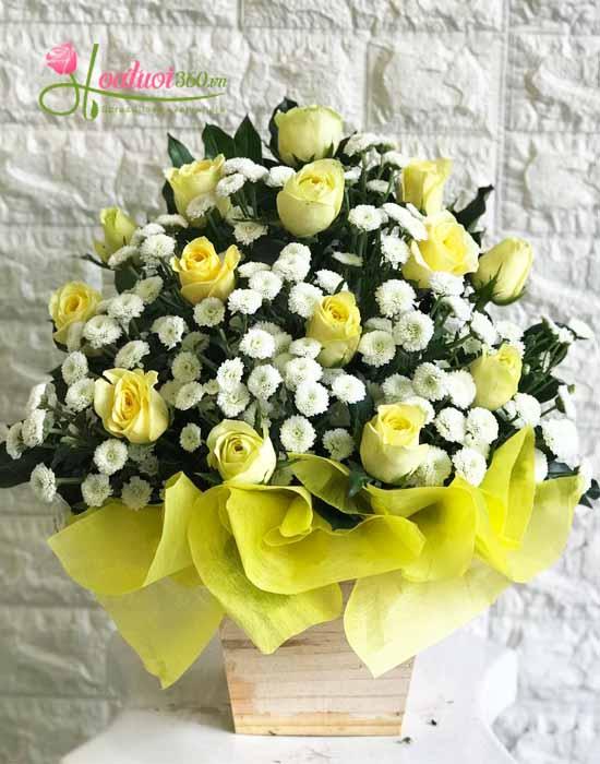 Hoa cắm hộp gỗ đẹp xinh
