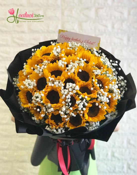 Bó hoa hướng dương tròn tràn đầy sức sống
