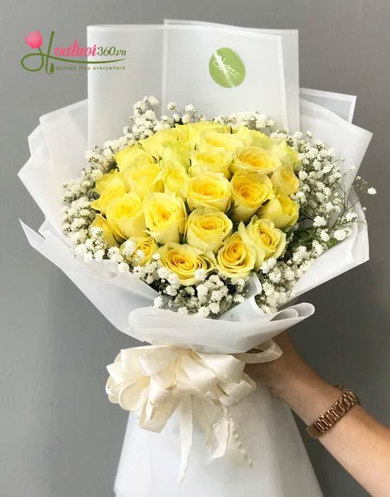 Hoa hồng vàng tặng bạn gái ngày Valentine xinh xắn