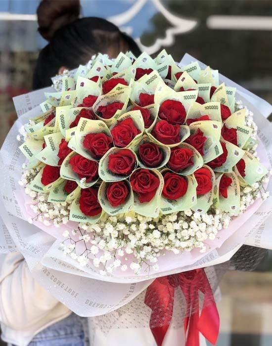 Hoa bằng tiền mix baby trắng và những nụ hoa bằng tiền kiêu sa