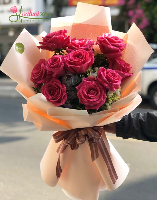 Bó hoa hồng Ecuador màu cánh sen nhập khẩu