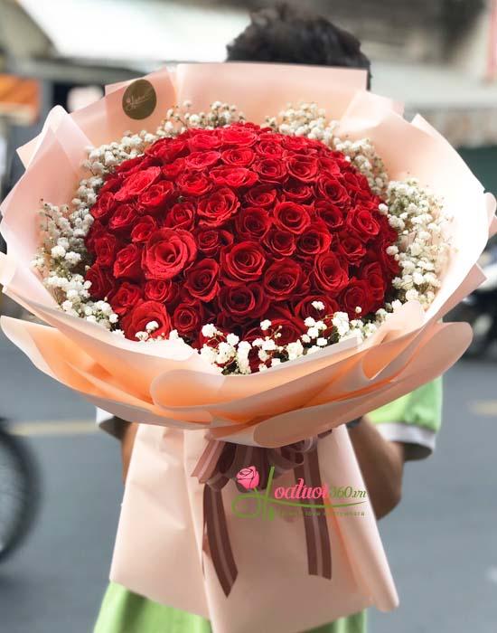 Bó hoa 8/3 hồng tuyệt đẹp