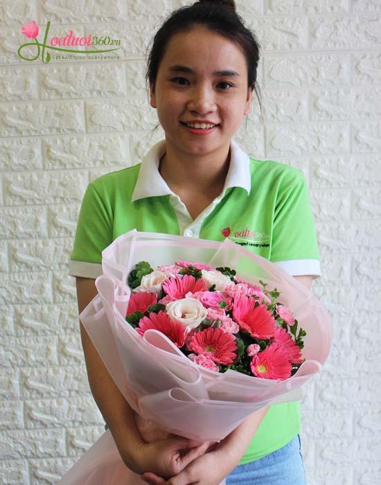Bó hoa đồng tiền kết hợp cùng hoa hồng