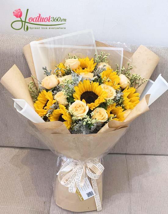 Bó hoa hướng dương chúc mừng 20/10 kết hợp hoa hồng cực đẹp